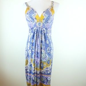 Elie Tahari ethnic floral silk dress sleeveless XS